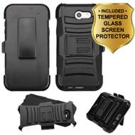 Advanced Hybrid Case + Holster + Tempered Glass Screen Protector for Samsung Galaxy J7 (2017) / J7 V / J7 Perx - Black