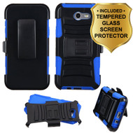 Advanced Hybrid Case + Holster + Tempered Glass Screen Protector for Samsung Galaxy J7 (2017) / J7 V / J7 Perx - Blue