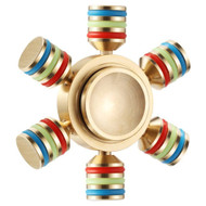 Six Winged Adjustable Pure Copper Fidget Finger Spinner Hand Spinning Toy - Gold