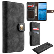 Luxury Coach Lite Series Leather Wallet with Removable Magnetic Case for Samsung Galaxy S8 Plus - Black