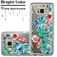 Quicksand Glitter Transparent Case for Samsung Galaxy S8 Plus - Watercolor Flowers