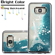 Electroplating Quicksand Glitter Transparent Case for Samsung Galaxy S8 Plus - Eiffel Tower Silver