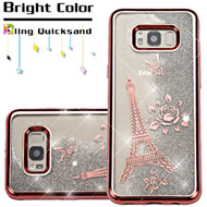 Electroplating Quicksand Glitter Transparent Case for Samsung Galaxy S8 Plus - Eiffel Tower Rose Gold