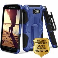 HD Holster Case + Tempered Glass for Samsung Galaxy J3 (2017) / J3 Emerge / J3 Prime / Amp Prime 2 / Sol 2 - Blue