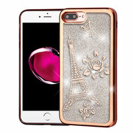 Electroplating Quicksand Glitter Transparent Case for iPhone 8 Plus / 7 Plus - Eiffel Tower Rose Gold