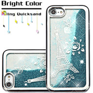 Electroplating Quicksand Glitter Transparent Case for iPhone 8 / 7 - Eiffel Tower Silver