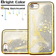 *Sale* Electroplating Quicksand Glitter Transparent Case for iPhone 8 / 7 - Eiffel Tower Gold