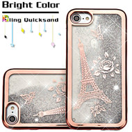 Electroplating Quicksand Glitter Transparent Case for iPhone 8 / 7 - Eiffel Tower Rose Gold