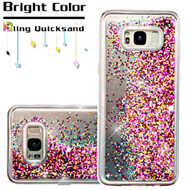 Quicksand Glitter Transparent Case for Samsung Galaxy S8 - Hot Pink