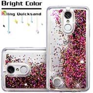 Quicksand Glitter Transparent Case for LG Aristo / Fortune / K8 2017 / Phoenix 3 - Hot Pink