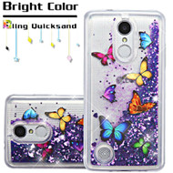 Quicksand Glitter Transparent Case for LG Aristo / Fortune / K8 2017 / Phoenix 3 - Butterfly Dancing