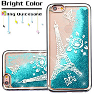 *Sale* Electroplating Quicksand Glitter Transparent Case for iPhone 6 Plus / 6S Plus - Eiffel Tower Silver