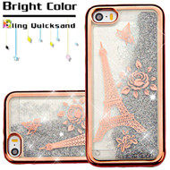 Electroplating Quicksand Glitter Transparent Case for iPhone SE / 5S / 5 - Eiffel Tower Rose Gold