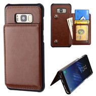 Pocket Wallet Case with Stand for Samsung Galaxy S8 - Brown