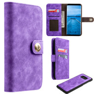 Luxury Coach Lite Series Leather Wallet with Removable Magnetic Case for Samsung Galaxy S8 - Purple