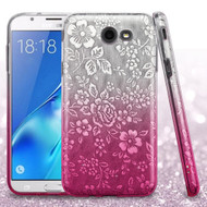 Full Glitter Hybrid Protective Case for Samsung Galaxy J7 (2017) / J7 V / J7 Perx - Hibiscus Gradient Hot Pink