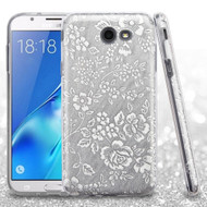 *SALE* Full Glitter Hybrid Protective Case for Samsung Galaxy J7 (2017) / J7 V / J7 Perx - Hibiscus Silver