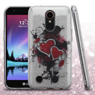 Full Glitter Hybrid Protective Case for LG K20 Plus / K20 V / K10 (2017) / Harmony - Hearts