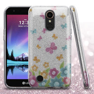 Full Glitter Hybrid Protective Case for LG K20 Plus / K20 V / K10 (2017) / Harmony - Butterfly