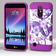Military Grade Certified TUFF Trooper Hybrid Armor Case for LG K20 Plus / K20 V / K10 (2017) / Harmony - Purple Hibiscus