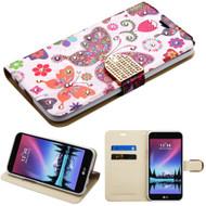 *Sale* Luxury Bling Portfolio Leather Wallet Case for LG K20 Plus / K20 V / K10 (2017) / Harmony - Butterfly