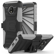 Advanced Armor Hybrid Kickstand Case with Holster for Motorola Moto G5 Plus - Black Grey
