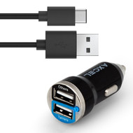 Axcel Dual Ports 2.1A Car Charger and USB 3.1 Type-C Cable - Black