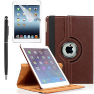 360 Degree Smart Rotating Leather Case Accessory Bundle for iPad (2017) / iPad Air - Brown