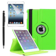 360 Degree Smart Rotating Leather Case Accessory Bundle for iPad (2018/2017) / iPad Air - Green