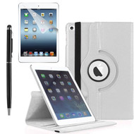 360 Degree Smart Rotating Leather Case Accessory Bundle for iPad (2018/2017) / iPad Air - White