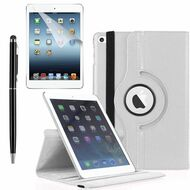 360 Degree Smart Rotating Leather Case Accessory Bundle for iPad (2017) / iPad Air - White