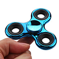 Chrome Plated Fidget Finger Spinner Hand Spinning Toy - Blue