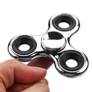 Chrome Plated Fidget Finger Spinner Hand Spinning Toy - Silver
