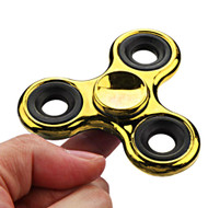Chrome Plated Fidget Finger Spinner Hand Spinning Toy - Gold