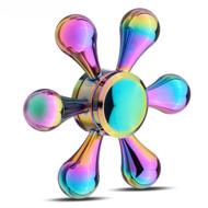 Helm Design Stainless Steel Fidget Finger Spinner Hand Spinning Toy - Rainbow