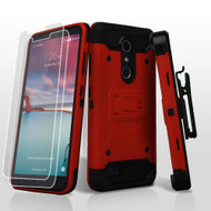 3-IN-1 Kinetic Hybrid Armor Case with Holster for ZTE Zmax Pro / Grand X Max 2 / Imperial Max / Max Duo 4G - Red