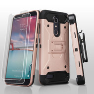 3-IN-1 Kinetic Hybrid Armor Case with Holster for ZTE Zmax Pro / Grand X Max 2 / Imperial Max / Max Duo 4G - Rose Gold