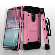 3-IN-1 Kinetic Hybrid Armor Case with Holster for ZTE Zmax Pro / Grand X Max 2 / Imperial Max / Max Duo 4G - Pink