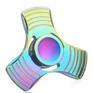 *Sale* Tri-Bar Center Cap Titanium Metal Fidget Finger Spinner Hand Spinning Toy - Rainbow