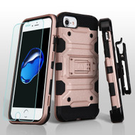 Military Grade Storm Tank Hybrid Case + Holster + Tempered Glass Screen Protector for iPhone 8 / 7 / 6S / 6 - Rose Gold