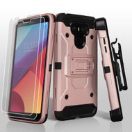 3-IN-1 Kinetic Hybrid Armor Case with Holster and Screen Protector for LG G6 - Rose Gold