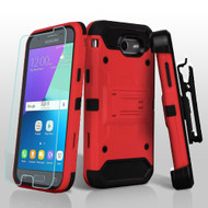 Kinetic Holster Case + Tempered Glass for Samsung Galaxy J3 (2017) / J3 Emerge / J3 Prime / Amp Prime 2 / Sol 2 - Red