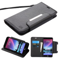 Designer Leather Wallet Shell Case for LG K20 Plus / K20 V / K10 (2017) / Harmony - Black