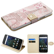 Luxury Bling Portfolio Leather Wallet Case for Motorola Moto G5 Plus - Eiffel Tower