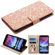 *SALE* Luxury Bling Glitters Leather Wallet Case for LG K20 Plus / K20 V / K10 (2017) / Harmony - Rose Gold