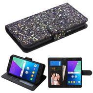 Luxury Bling Glitters Leather Wallet Case for Samsung Galaxy J3 Emerge - Black