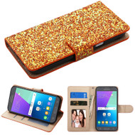 Luxury Bling Glitters Leather Wallet Case for Samsung Galaxy J3 Emerge - Gold