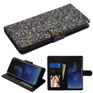 Luxury Bling Glitters Leather Wallet Case for Samsung Galaxy S8 Plus - Black