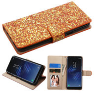 Luxury Bling Glitters Leather Wallet Case for Samsung Galaxy S8 Plus - Gold