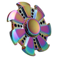 Wheel Design Titanium Alloy Fidget Finger Spinner Hand Spinning Toy - Rainbow